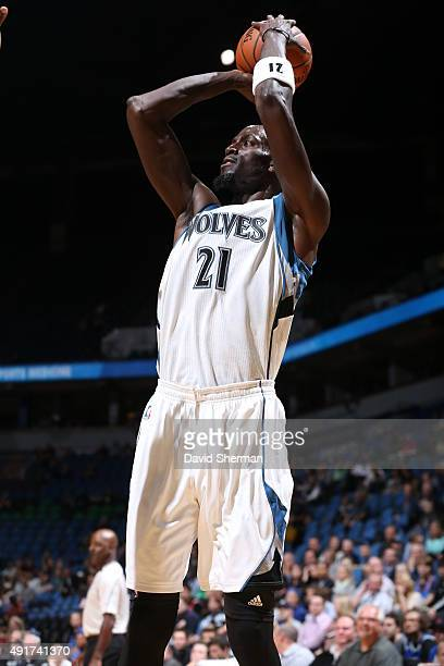 Kevin Garnett of the Minnesota Timberwolves shoots against the Oklahoma City Thunder during a preseason game on October 7 2015 at Target Center in...