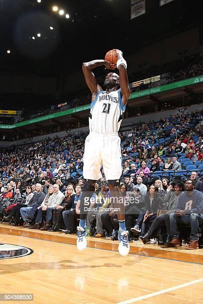 Kevin Garnett of the Minnesota Timberwolves shoots the ball against the Dallas Mavericks on January 10 2016 at Target Center in Minneapolis Minnesota...
