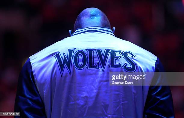 Kevin Garnett of the Minnesota Timberwolves stands during the singing of the national anthem before the game with the Los Angeles Clippers at Staples...