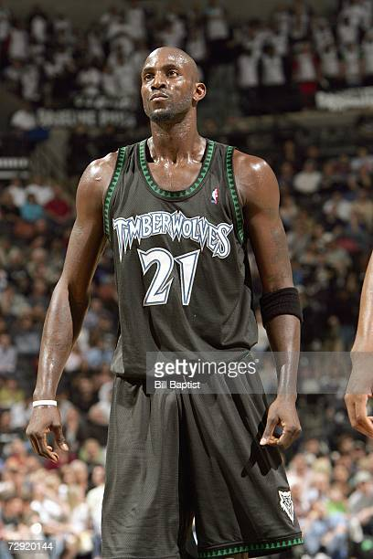 Kevin Garnett of the Minnesota Timberwolves stands on the court during the game against the San Antonio Spurs at the ATT Center on December 13 2006...