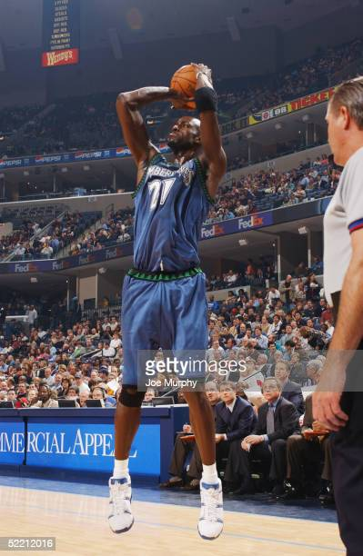 Kevin Garnett of the Minnesota Timberwolves takes a jump shot during the game against the Memphis Grizzlies at FedexForum on February 8 2005 in...