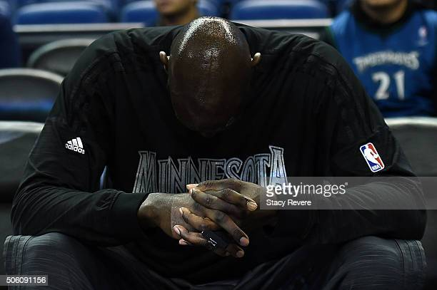 Kevin Garnett of the Minnesota Timberwolves waits for player introductions prior to a game against the New Orleans Pelicans at the Smoothie King...