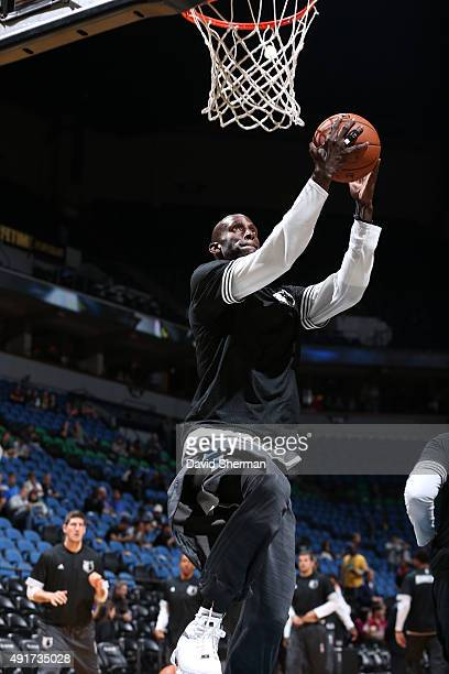 Kevin Garnett of the Minnesota Timberwolves warms up before facing off against the Oklahoma City Thunder during a preseason game on October 7 2015 at...