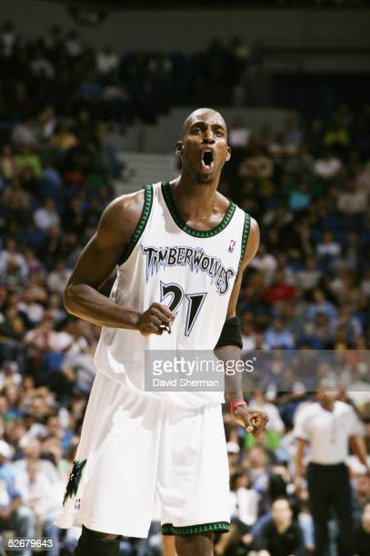 Kevin Garnett of the Minnesota Timberwolves yells during the game against the Utah Jazz at Target Center on April 6 2005 in Minneapolis Minnesota The...