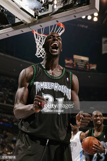 Kevin Garnett of the Minnesota Timberwovles show his emotions against the Denver Nuggetson November 4 2004 at Pepsi Center in Denver Colorado NOTE TO...