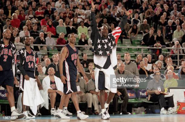 Kevin Garnett of the USA reacts on the sidelines in the Mens Basketball game against Australia on September 9 2000 during the Sydney 2000 Olympic...