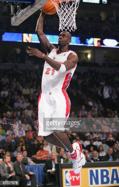 Kevin Garnett of the Western Conference All-Stars goes in for a slam dunk during the 54th All-Star Game against the Eastern Conference All-Stars,...