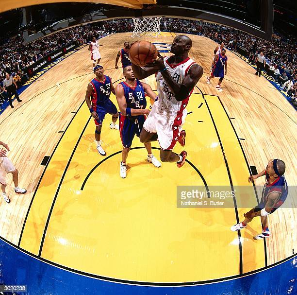 Kevin Garnett of the Western Conference AllStars shoots against the Eastern Conference AllStars during the 2004 AllStar Game on February 15 2004 at...
