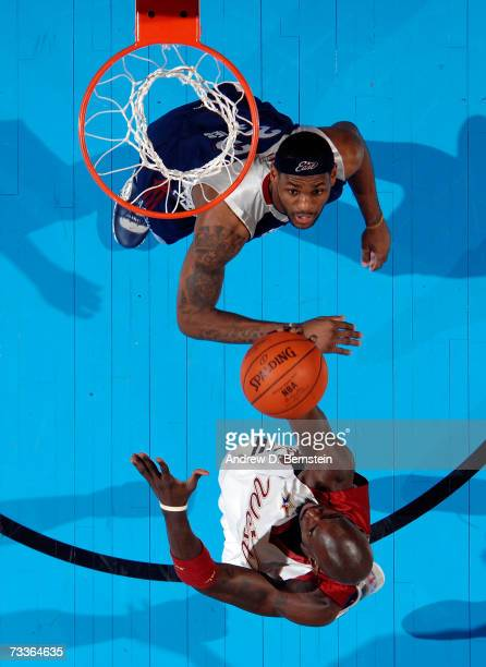 Kevin Garnett of the Western Conference goes up for a layup over LeBron James in the 2007 NBA All-Star Game on February 18, 2007 at the Thomas & Mack...