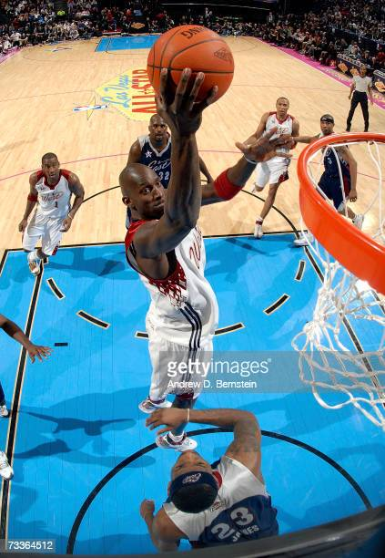 Kevin Garnett of the Western Conference shoots the ball over LeBron James of the Eastern Conference in the 2007 NBA All-Star Game on February 18,...