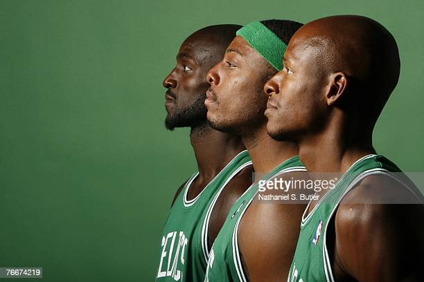Kevin Garnett Paul Pierce and Ray Allen of the Boston Celtics pose during a portrait session at the Boston Celtics practice facility September 10...