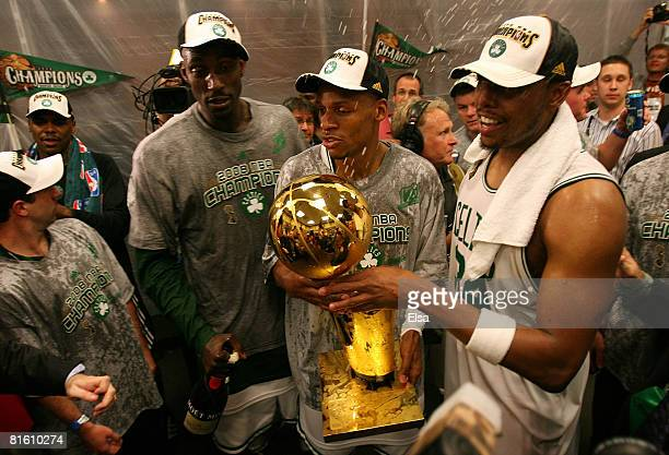 Kevin Garnett Ray Allen and Paul Pierce of the Boston Celtics celebrate in the locker room after defeating the Los Angeles Lakers in Game Six of the...