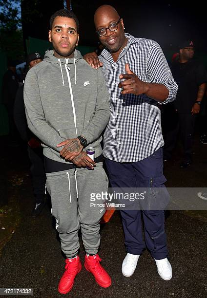 Kevin Gates and Michael Kyser attend StreetzFest2k15 at Masquerade Music Park Historic Fourth Ward Park on April 18 2015 in Atlanta Georgia
