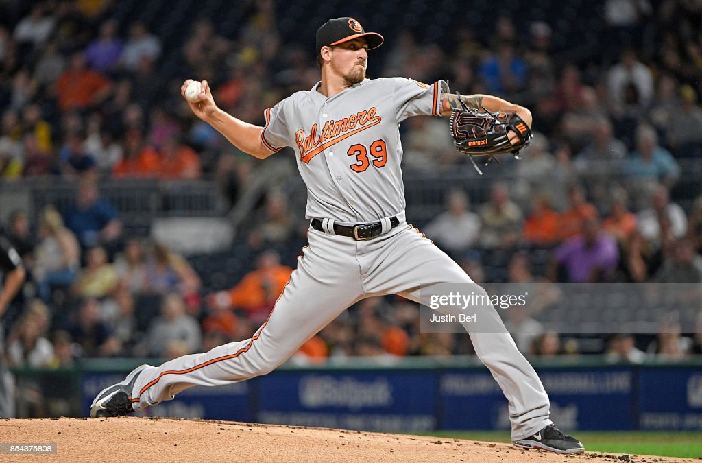 Kevin Gausman #39 of the Baltimore Orioles delivers a pitch in the first inning during the game against the Pittsburgh Pirates at PNC Park on September 26, 2017 in Pittsburgh, Pennsylvania.