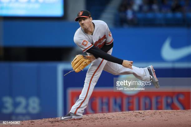 Kevin Gausman of the Baltimore Orioles delivers a pitch in the second inning during MLB game action against the Toronto Blue Jays at Rogers Centre on...