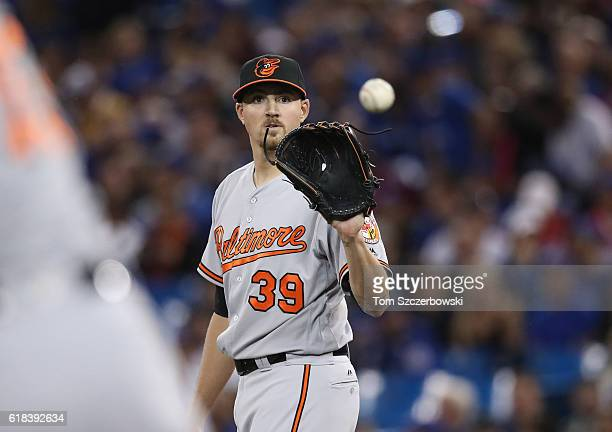 Kevin Gausman of the Baltimore Orioles gets the baseball before pitching in the first inning during MLB game action against the Toronto Blue Jays on...