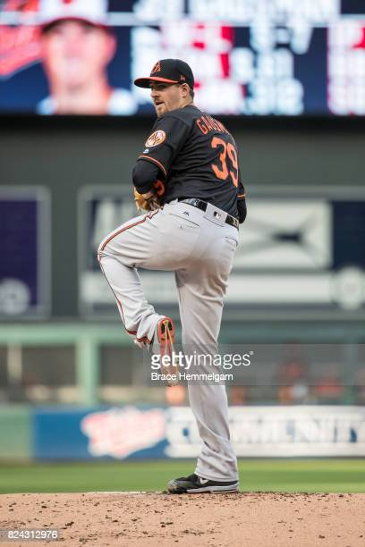 Kevin Gausman of the Baltimore Orioles pitches against the Minnesota Twins on July 7 2017 at Target Field in Minneapolis Minnesota The Twins defeated...