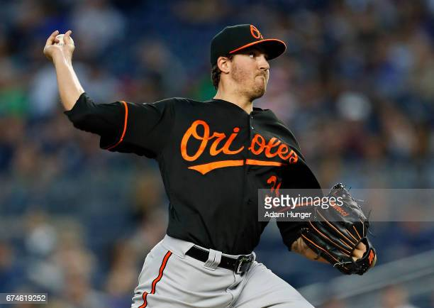 Kevin Gausman of the Baltimore Orioles pitches against the New York Yankees during the third inning at Yankee Stadium on April 28 2017 in the Bronx...