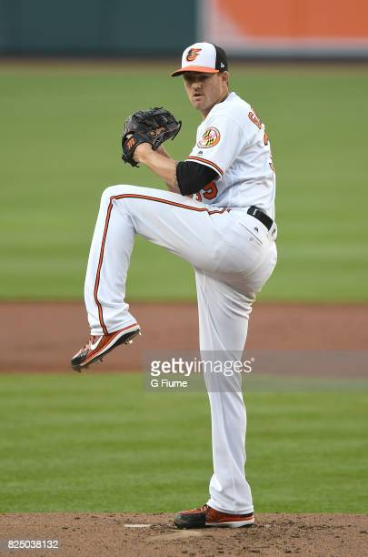 Kevin Gausman of the Baltimore Orioles pitches against the Pittsburgh Pirates at Oriole Park at Camden Yards on June 6 2017 in Baltimore Maryland