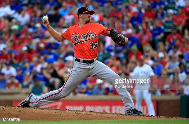 Kevin Gausman of the Baltimore Orioles pitches against the Texas Rangers during the first inning at Globe Life Park in Arlington on July 29 2017 in...
