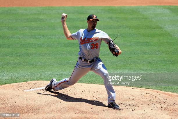 Kevin Gausman of the Baltimore Orioles pitches during the first inning of a game against the Los Angeles Angels of Anaheim at Angel Stadium of...