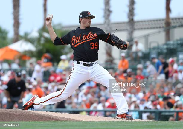 Kevin Gausman of the Baltimore Orioles pitches during the first inning of the Spring Training Game against the Philadelphia Phillies on March 13 2017...