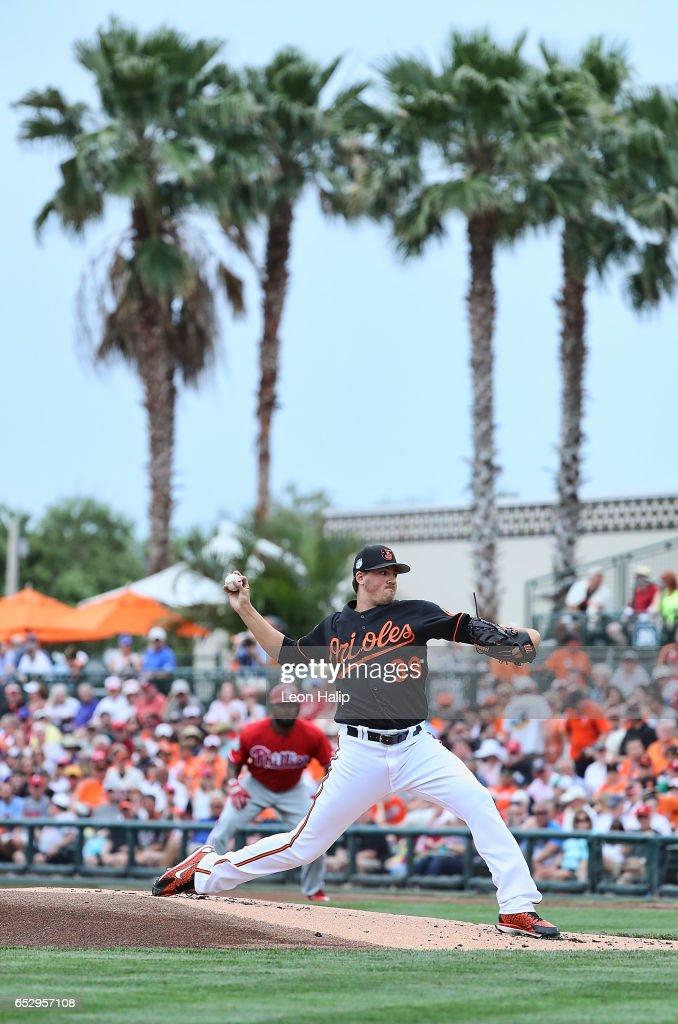 Kevin Gausman #39 of the Baltimore Orioles pitches during the first inning of the Spring Training Game against the Philadelphia Phillies on March 13, 2017 at Ed Smith Stadium in Sarasota, Florida.