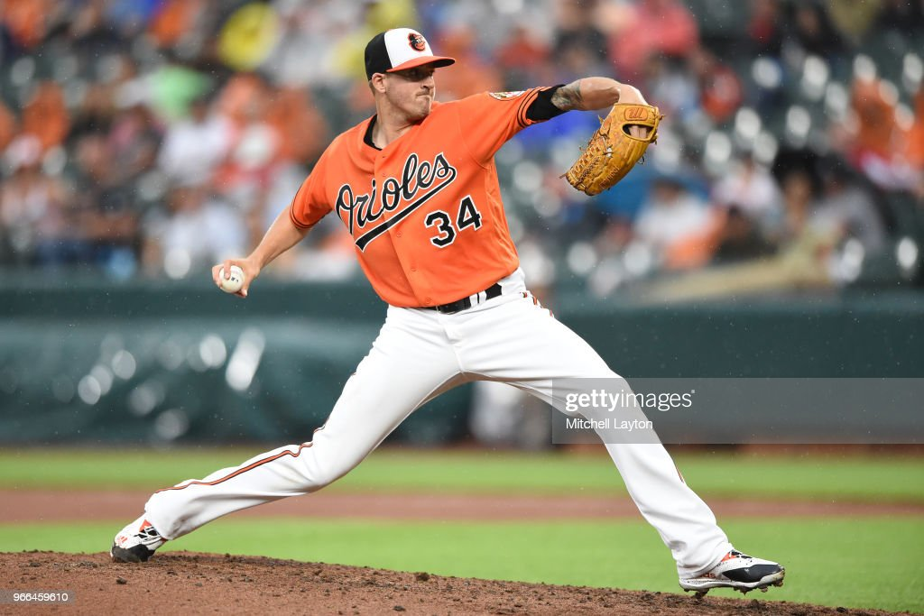 Kevin Gausman #34 of the Baltimore Orioles pitches in the fifth inning during a baseball game against the New York Yankees at Oriole Park at Camden Yards on June 2, 2018 in Baltimore, Maryland.