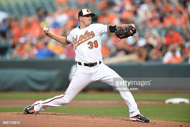 Kevin Gausman of the Baltimore Orioles pitches in the first inning during a baseball game against of the Texas Rangers at Oriole Park at Camden Yards...