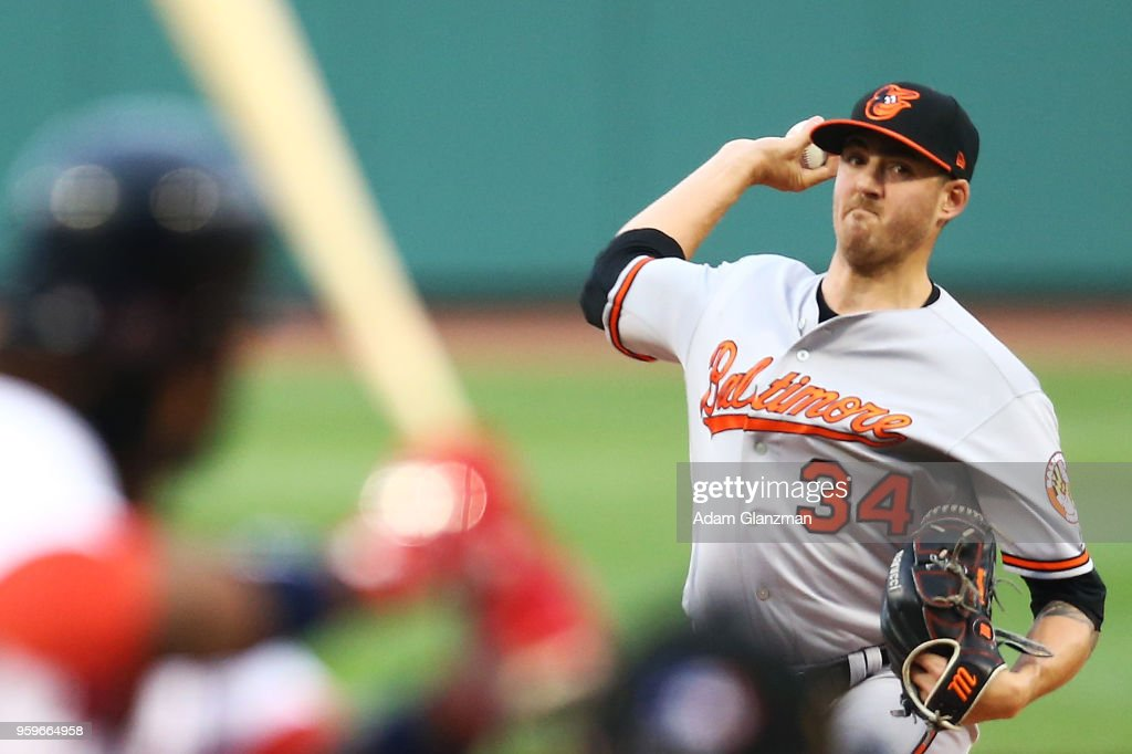 Kevin Gausman #34 of the Baltimore Orioles pitches in the first inning of a game against the Boston Red Sox at Fenway Park on May 17, 2018 in Boston, Massachusetts.