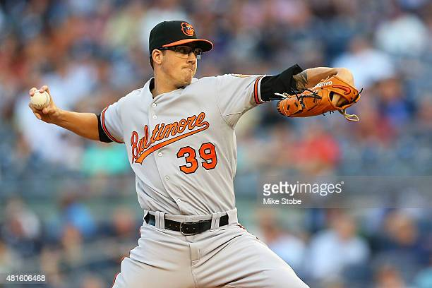 Kevin Gausman of the Baltimore Orioles pitches in the first inning against the New York Yankees at Yankee Stadium on July 22 2015 in the Bronx...