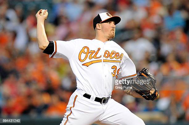 Kevin Gausman of the Baltimore Orioles pitches in the second inning against the Washington Nationals at Oriole Park at Camden Yards on August 23 2016...