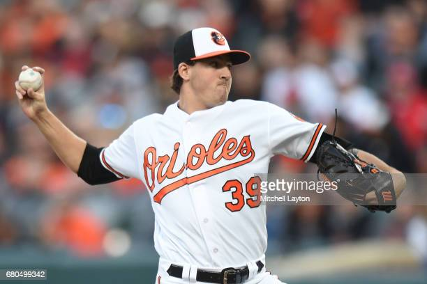 Kevin Gausman of the Baltimore Orioles pitches in the third inning during a baseball game against the Washington Nationals at Oriole Park at Camden...