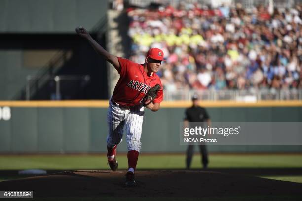Kevin Ginkel of University of Arizona fields a ball off the mound against Coastal Carolina University during the Division I Men's Baseball...