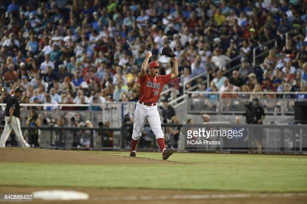 Kevin Ginkel of University of Arizona shows his appreciate after a great defensive play ended the inning against Coastal Carolina University during...
