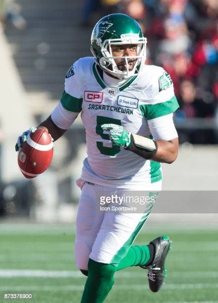 Kevin Glenn of the Saskatchewan Roughriders looks for a receiver against the Ottawa Redblacks in Canadian Football League play during the CFL East...
