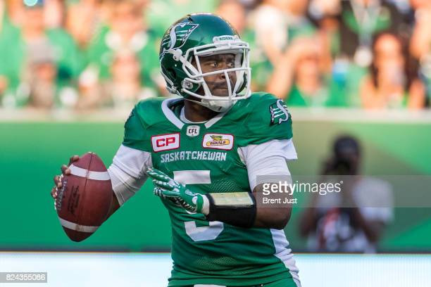 Kevin Glenn of the Saskatchewan Roughriders looks to throw in the second half of the game between the Toronto Argonauts and Saskatchewan Roughriders...