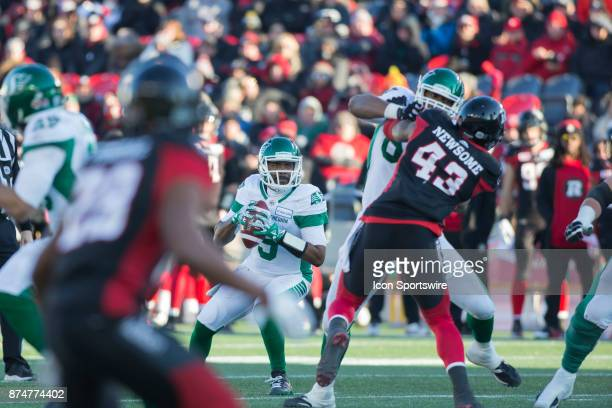 Kevin Glenn of the Saskatchewan Roughriders patiently looks for a receiver amidst the chaos of the Ottawa Redblack pass rush Glenn was quarterback in...