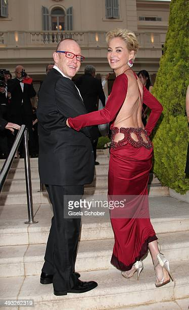 Kevin Goetz and Sharon Stone attend amfAR's 21st Cinema Against AIDS Gala Presented By WORLDVIEW BOLD FILMS and BVLGARI at Hotel du CapEdenRoc on May...