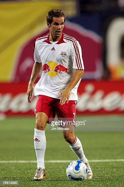 Kevin Goldthwaite of the New York Red Bulls handles the ball against the New England Revolution on July 14 2007 at Giants Stadium in East Rutherford...