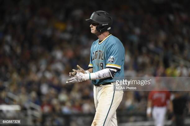 Kevin Goodall Jr of Coastal Carolina University shows his frustration after making an out against the University of Arizona during the Division I...