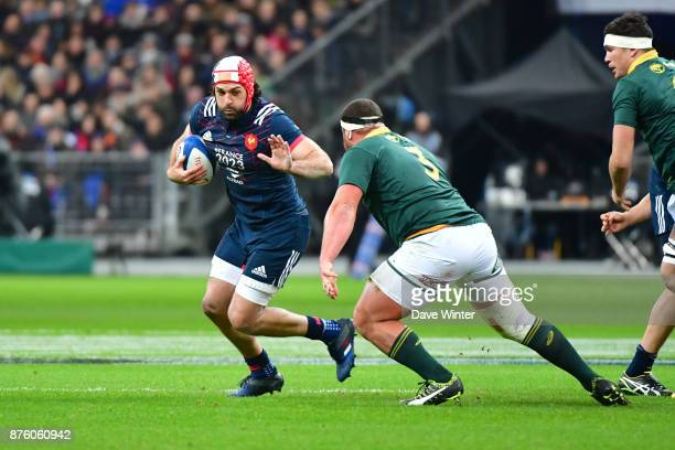 Kevin Gourdon of France and Wilco Louw of South Africa during the test match between France and South Africa at Stade de France on November 18 2017...