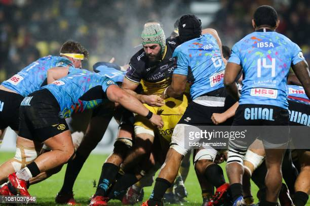 Kevin Gourdon of La Rochelle during the European Challenge Cup match between La Rochelle and Zebre at Stade Marcel Deflandre on January 11 2019 in La...