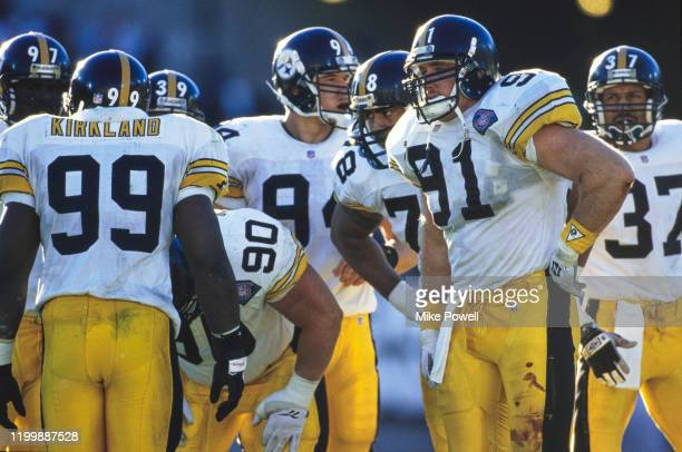 Kevin Greene, Defensive End and Linebacker for the Pittsburgh Steelers with the defensive line during the American Football Conference West game on...