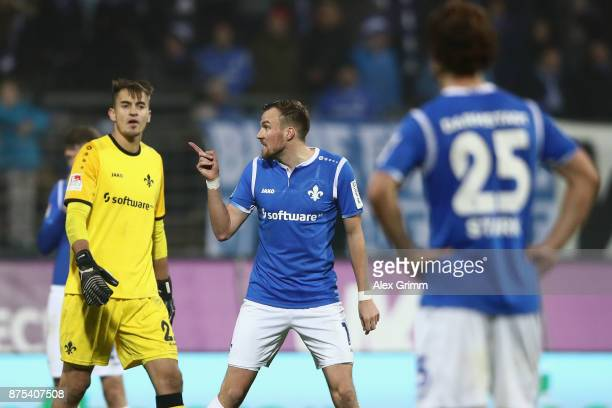 Kevin Grosskreutz of Darmstadt reacts after the Second Bundesliga match between SV Darmstadt 98 and SV Sandhausen at JonathanHeimesStadion am...