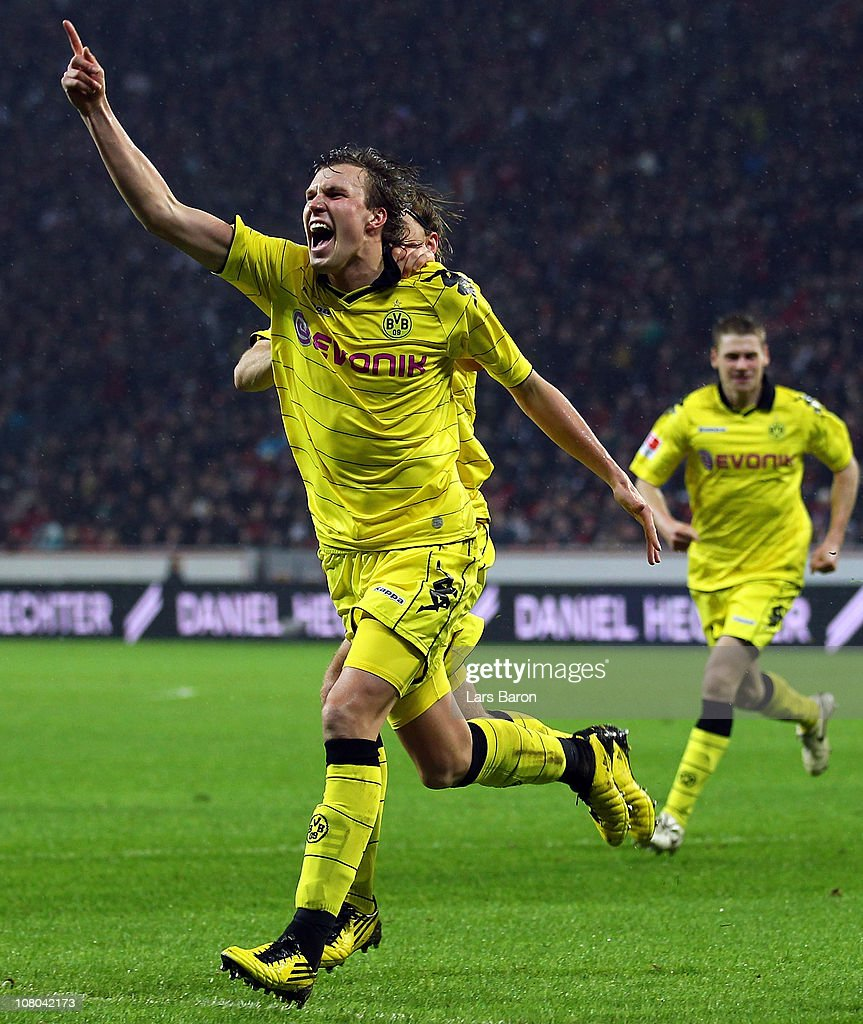 Kevin Grosskreutz of Dortmund celebrates after scoring his teams first goal during the Bundesliga match between Bayer Leverkusen and Borussia Dortmund at BayArena on January 14, 2011 in Leverkusen, Germany.