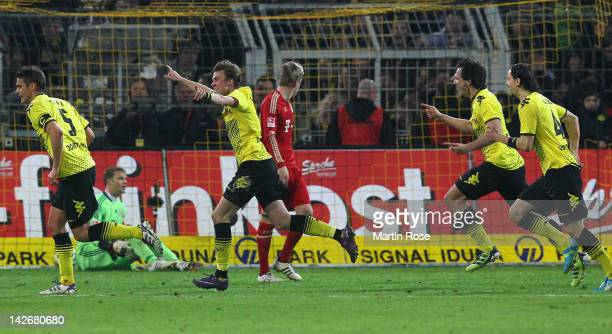 Kevin Grosskreutz of Dortmund celebrates his team's 1st goal during the Bundesliga match between Borussia Dortmund and FC Bayern Muenchen at Signal...
