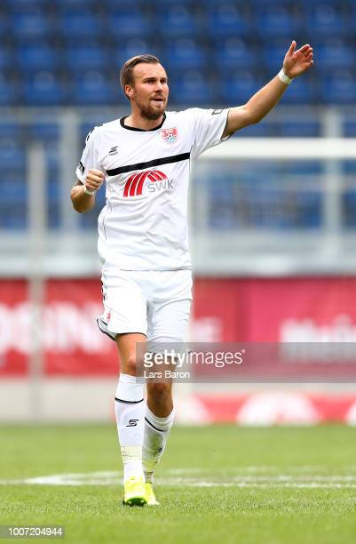 Kevin Grosskreutz of Uerdingen is seen during the 3 Liga match between KFC Uerdingen 05 and SpVgg Unterhaching at schauinslandreisenarena on July 29...