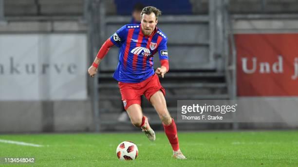 Kevin Grosskreutz of Uerdingen runs with the ball during the 3 Liga match between KFC Uerdingen 05 and Karlsruher SC at GrotenburgStadion on March 08...