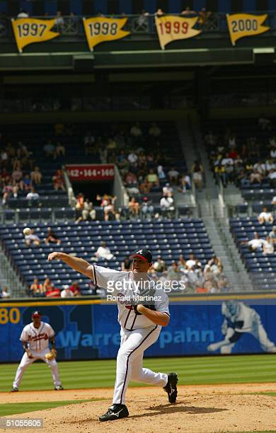 Kevin Gryboski of the Atlanta Braves pitches during the game against the Kansas City Royals at Turner Field on June 17 2004 in Atlanta Georgia The...